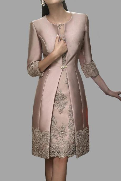 New Knee Length Mother Of The Bride Dress With Coat Satin Appliques 3/4 sleeves