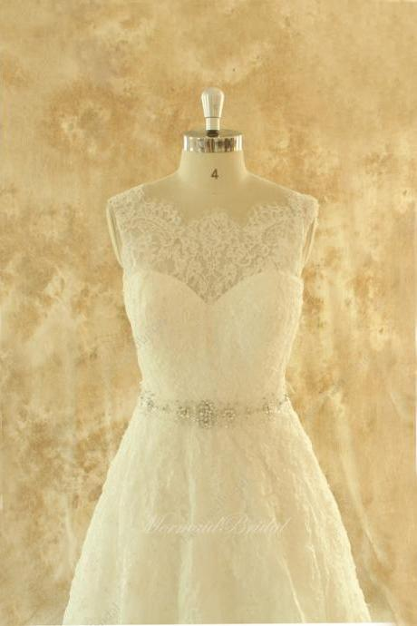 Ivory or white A line lace wedding dress,bridal gown with elegant beading sash