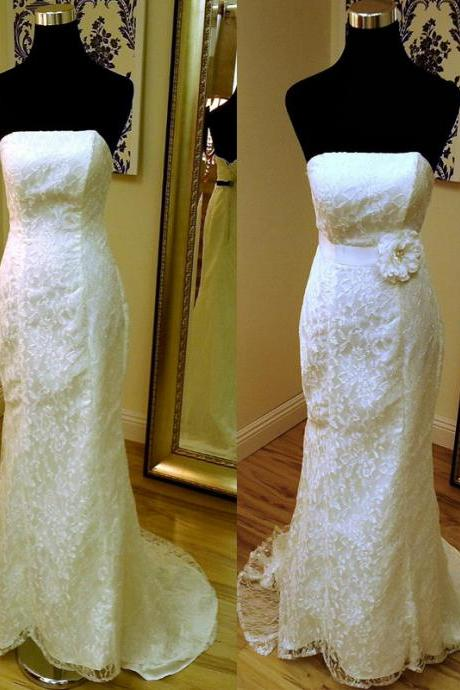 ASDRESS Mermaid Wedding Dress Lace Wedding Dress Long Wedding Dress Strapless Wedding Dress