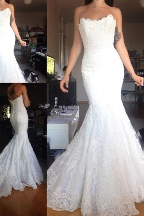 New White/Ivory Lace sleeveless Mermaid Wedding Dress Bridal Gown Size 4 6 8 10 12 14 16 ++